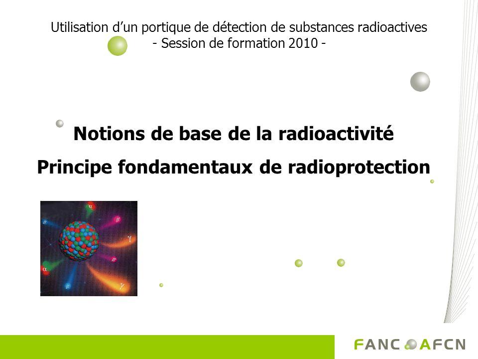 Utilisation dun portique de détection de substances radioactives - Session de formation 2010 - Notions de base de la radioactivité Principe fondamenta