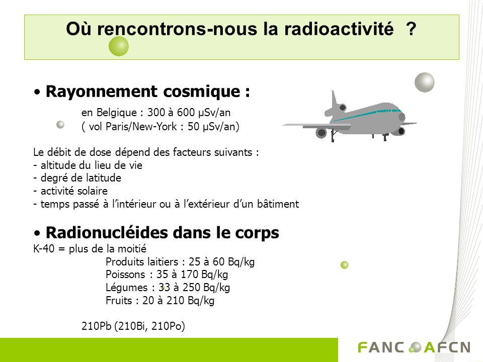 Où rencontrons-nous la radioactivité ? Rayonnement cosmique : en Belgique : 300 à 600 µSv/an ( vol Paris/New-York : 50 µSv/an) Le débit de dose dépend
