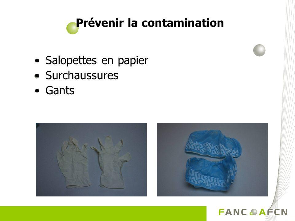 Prévenir la contamination Salopettes en papier Surchaussures Gants