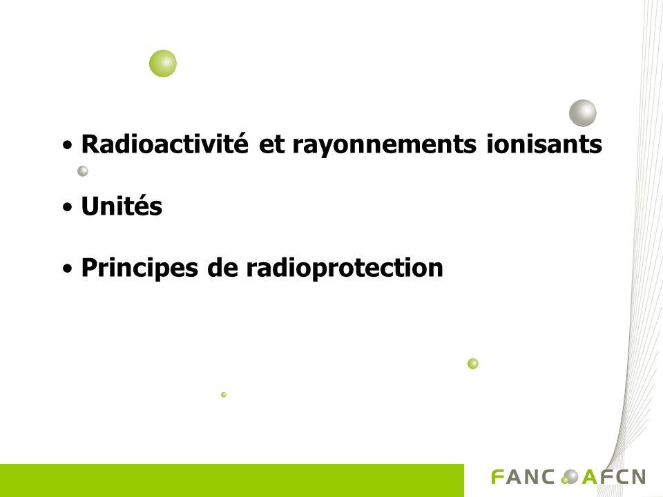 Radioactivité Radioactivité Phénomène naturel Phénomène naturel Au niveau du noyau de l atome (nucléaire) Au niveau du noyau de l atome (nucléaire) ATOME : ATOME : Noyau (protons + neutrons) Noyau (protons + neutrons) Electrons Electrons Noyau stable (la majorité) instable => excès dénergie => RADIOACTIF