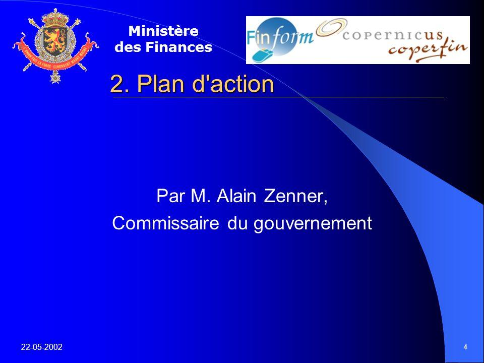 Ministère des Finances 22-05-2002 4 2. Plan d action Par M.