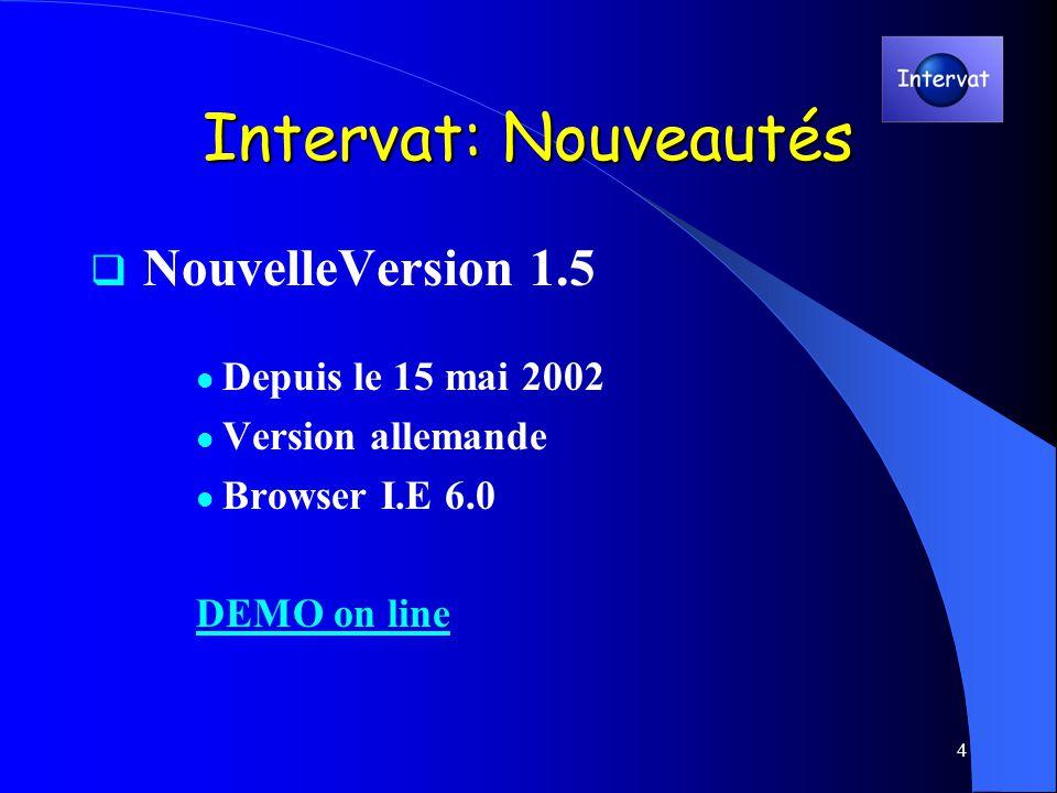 4 Intervat: Nouveautés NouvelleVersion 1.5 Depuis le 15 mai 2002 Version allemande Browser I.E 6.0 DEMO on line