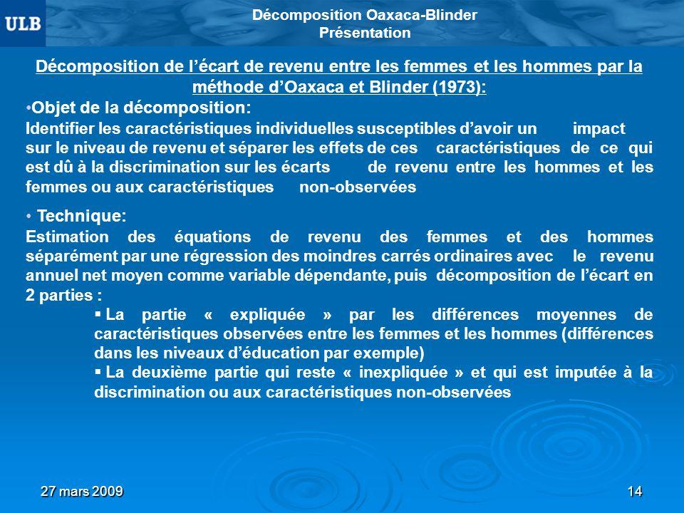 27 mars 200914 Décomposition Oaxaca-Blinder Présentation Décomposition de lécart de revenu entre les femmes et les hommes par la méthode dOaxaca et Bl