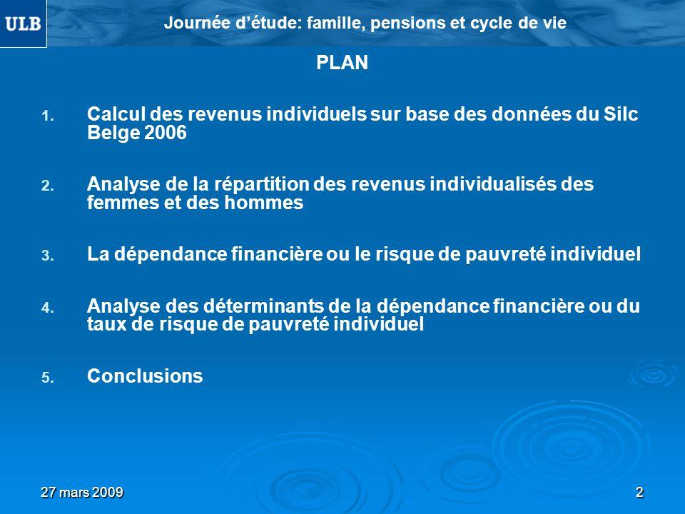 27 mars 20092 Journée détude: famille, pensions et cycle de vie PLAN 1. 1. Calcul des revenus individuels sur base des données du Silc Belge 2006 2. 2