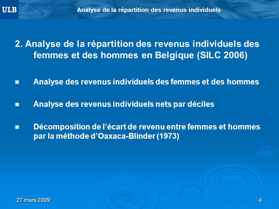 27 mars 20094 Analyse de la répartition des revenus individuels 2. Analyse de la répartition des revenus individuels des femmes et des hommes en Belgi