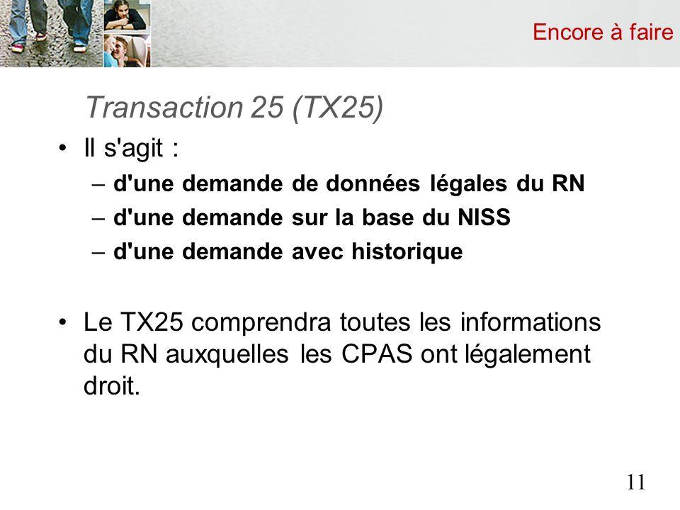 Encore à faire Transaction 25 (TX25) Il s'agit : –d'une demande de données légales du RN –d'une demande sur la base du NISS –d'une demande avec histor