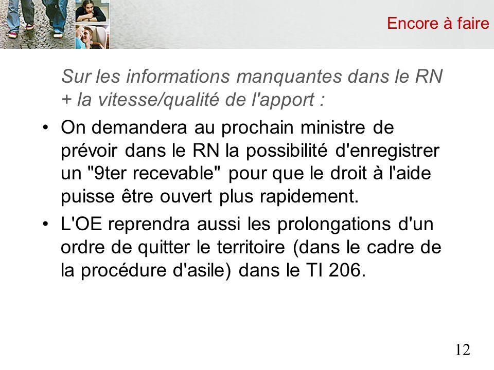 Encore à faire Sur les informations manquantes dans le RN + la vitesse/qualité de l'apport : On demandera au prochain ministre de prévoir dans le RN l