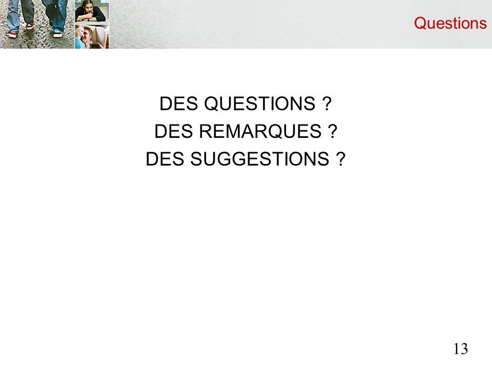 Questions DES QUESTIONS ? DES REMARQUES ? DES SUGGESTIONS ? 13