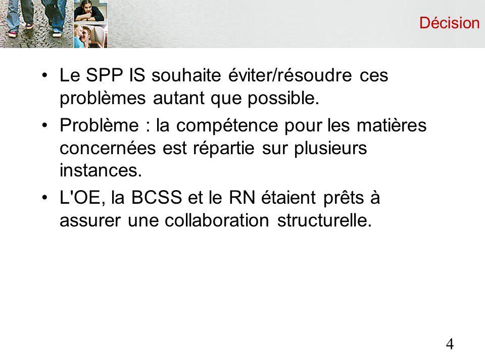 Décision Le SPP IS souhaite éviter/résoudre ces problèmes autant que possible. Problème : la compétence pour les matières concernées est répartie sur