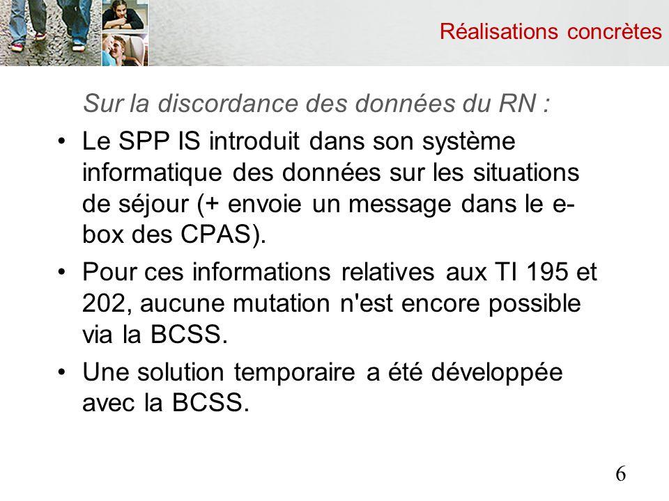 Réalisations concrètes Sur la discordance des données du RN : Le SPP IS introduit dans son système informatique des données sur les situations de séjo