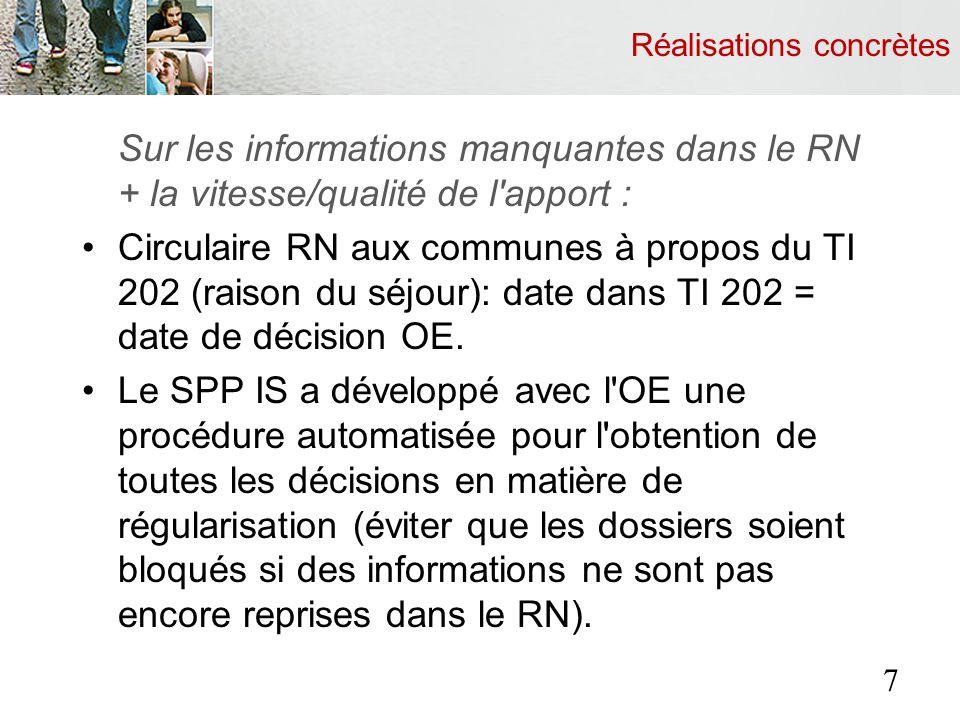 Réalisations concrètes Sur les informations manquantes dans le RN + la vitesse/qualité de l'apport : Circulaire RN aux communes à propos du TI 202 (ra