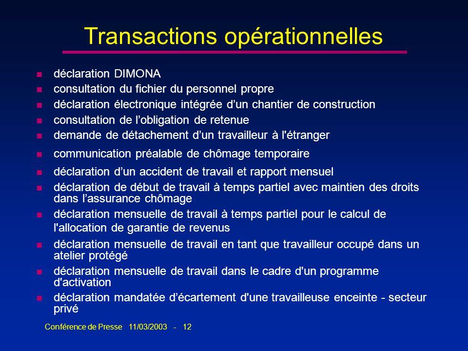 Conférence de Presse 11/03/2003 - 12 Transactions opérationnelles n déclaration DIMONA n consultation du fichier du personnel propre n déclaration éle