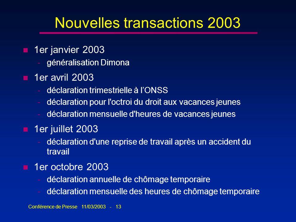 Conférence de Presse 11/03/2003 - 13 Nouvelles transactions 2003 n 1er janvier 2003 -généralisation Dimona n 1er avril 2003 -déclaration trimestrielle
