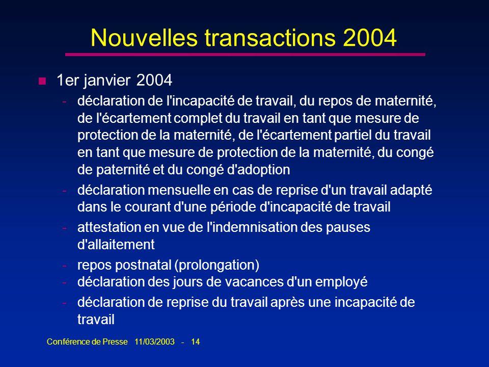 Conférence de Presse 11/03/2003 - 14 Nouvelles transactions 2004 n 1er janvier 2004 -déclaration de l'incapacité de travail, du repos de maternité, de