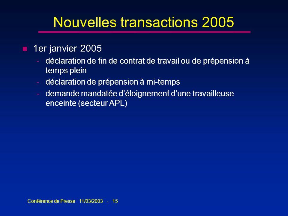 Conférence de Presse 11/03/2003 - 15 Nouvelles transactions 2005 n 1er janvier 2005 -déclaration de fin de contrat de travail ou de prépension à temps