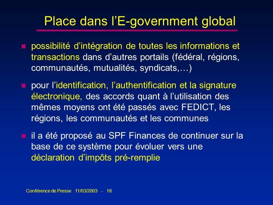 Conférence de Presse 11/03/2003 - 18 Place dans lE-government global n possibilité dintégration de toutes les informations et transactions dans dautre