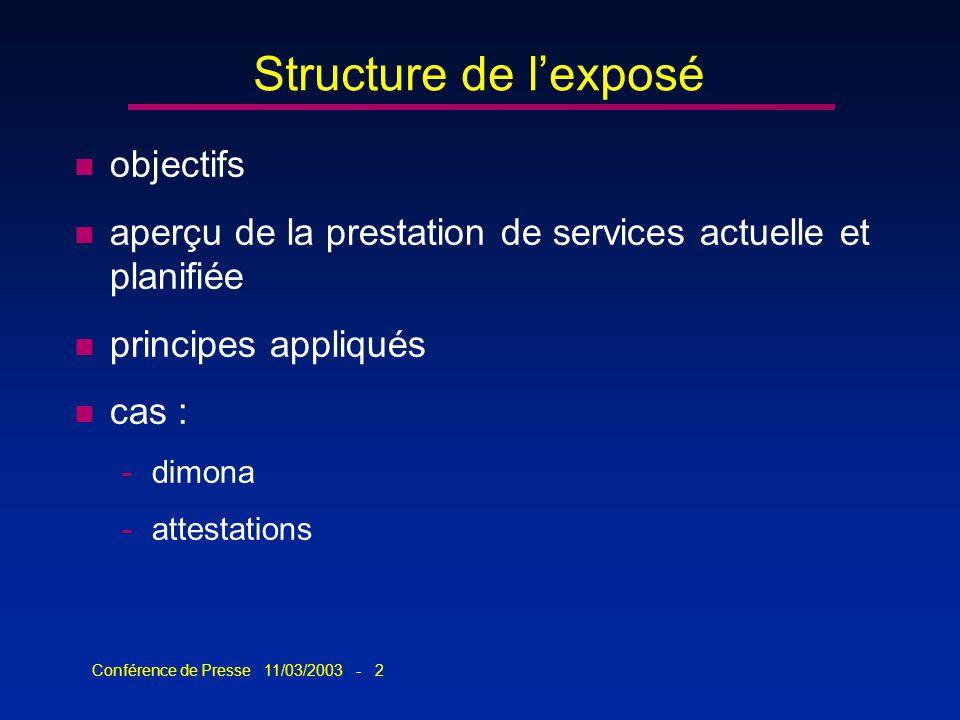 Conférence de Presse 11/03/2003 - 2 Structure de lexposé n objectifs n aperçu de la prestation de services actuelle et planifiée n principes appliqués