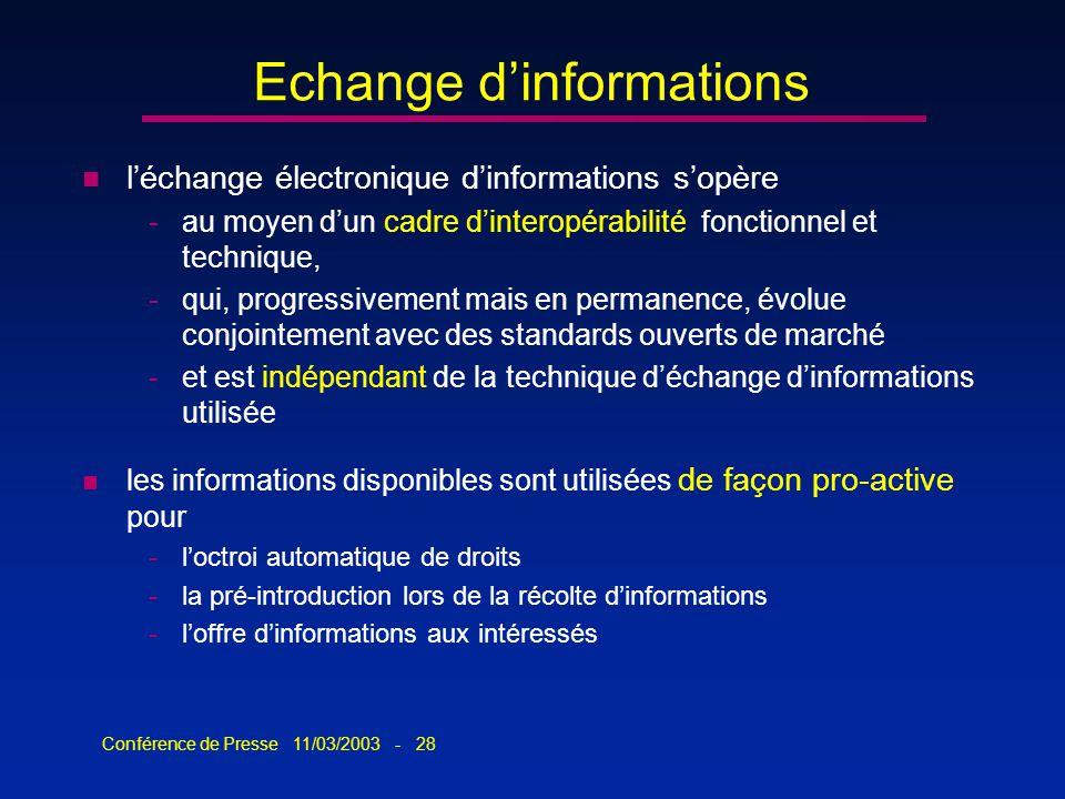 Conférence de Presse 11/03/2003 - 28 Echange dinformations n léchange électronique dinformations sopère -au moyen dun cadre dinteropérabilité fonction