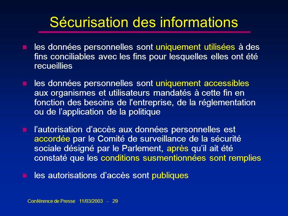 Conférence de Presse 11/03/2003 - 29 Sécurisation des informations n les données personnelles sont uniquement utilisées à des fins conciliables avec l