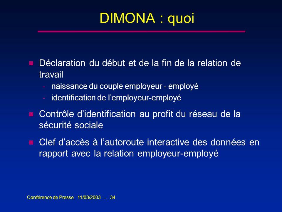 Conférence de Presse 11/03/2003 - 34 n Déclaration du début et de la fin de la relation de travail -naissance du couple employeur - employé -identific