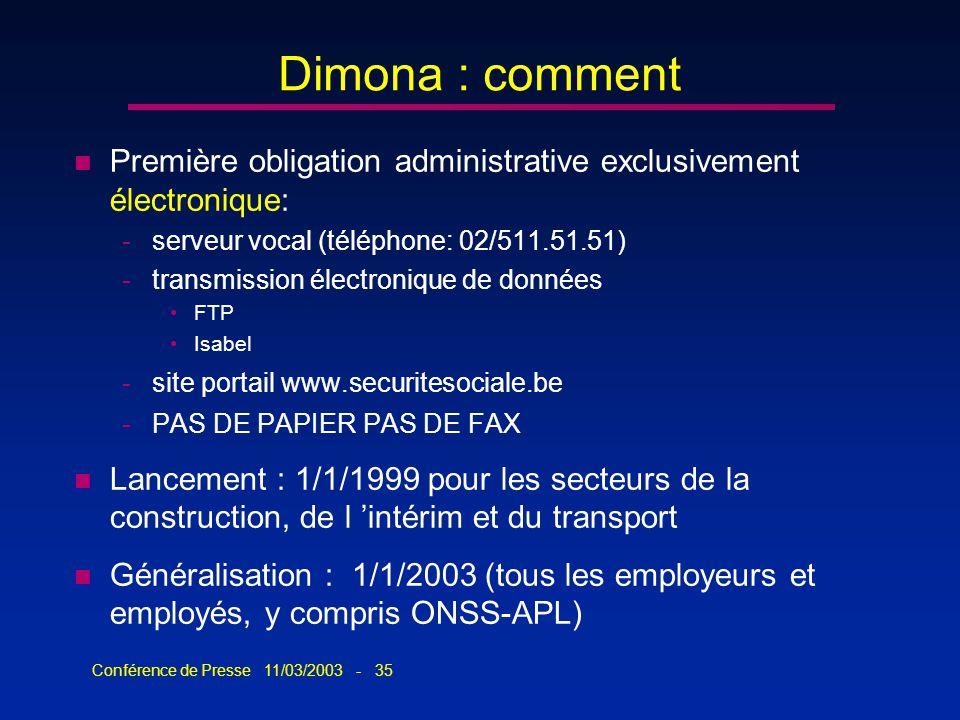 Conférence de Presse 11/03/2003 - 35 Dimona : comment n Première obligation administrative exclusivement électronique: -serveur vocal (téléphone: 02/5