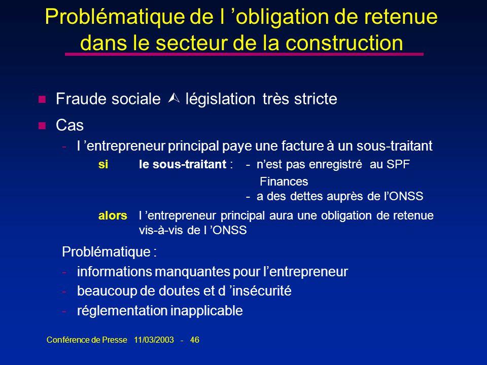 Conférence de Presse 11/03/2003 - 46 Problématique de l obligation de retenue dans le secteur de la construction n Fraude sociale législation très str