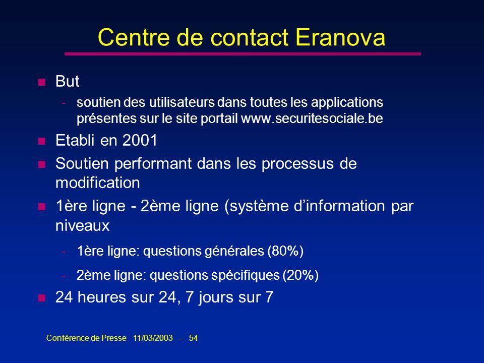 Conférence de Presse 11/03/2003 - 54 Centre de contact Eranova n But -soutien des utilisateurs dans toutes les applications présentes sur le site port