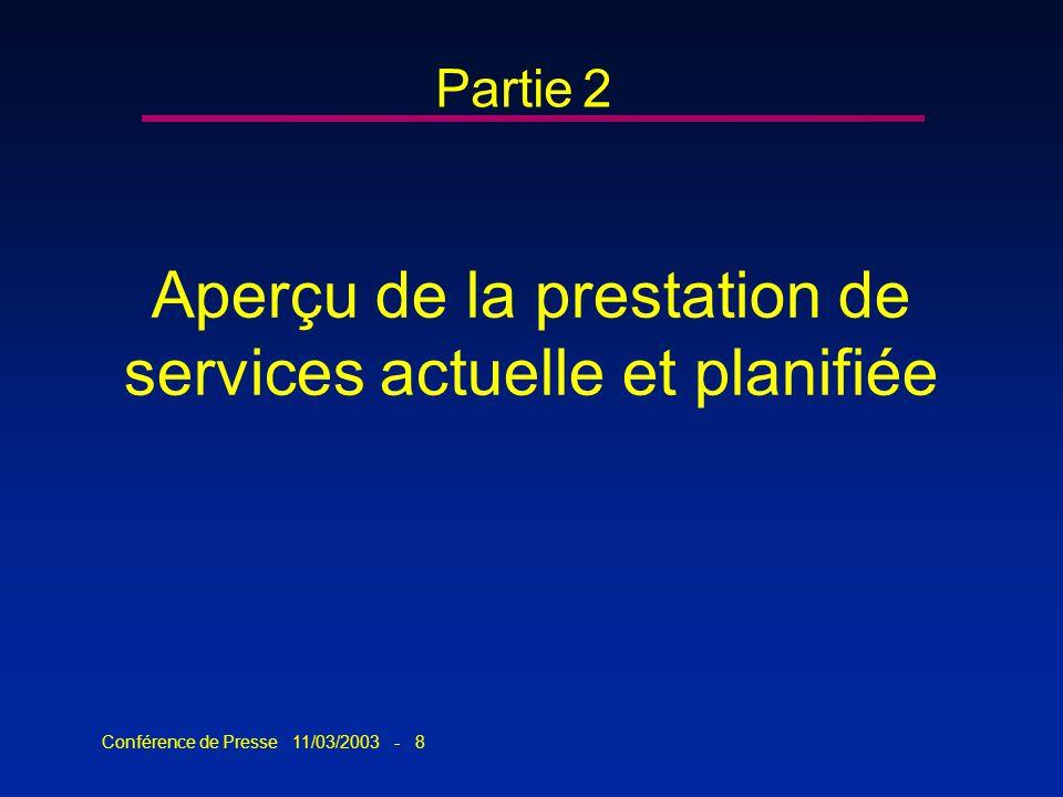 Conférence de Presse 11/03/2003 - 8 Aperçu de la prestation de services actuelle et planifiée Partie 2