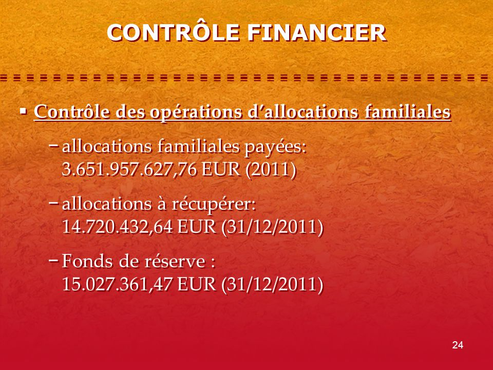 24 CONTRÔLE FINANCIER Contrôle des opérations dallocations familiales allocations familiales payées: 3.651.957.627,76 EUR (2011) allocations à récupérer: 14.720.432,64 EUR (31/12/2011) Fonds de réserve : 15.027.361,47 EUR (31/12/2011) Contrôle des opérations dallocations familiales allocations familiales payées: 3.651.957.627,76 EUR (2011) allocations à récupérer: 14.720.432,64 EUR (31/12/2011) Fonds de réserve : 15.027.361,47 EUR (31/12/2011)