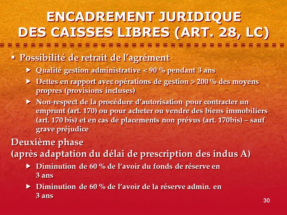 30 ENCADREMENT JURIDIQUE DES CAISSES LIBRES (ART.