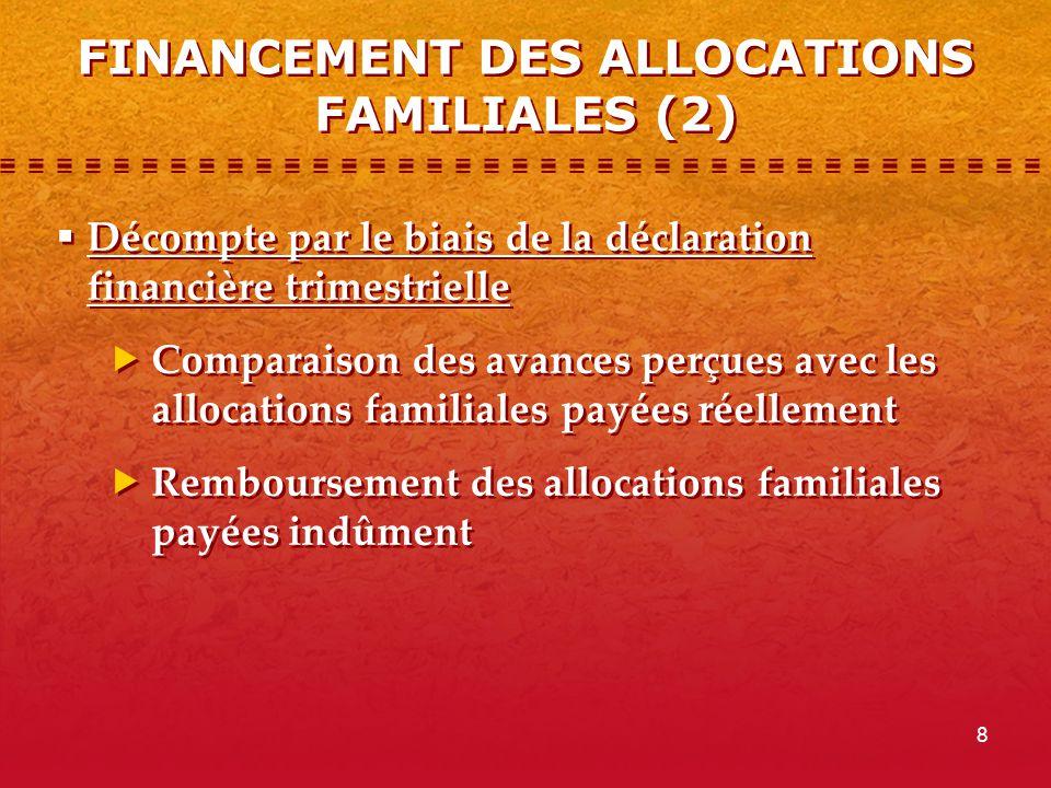 8 FINANCEMENT DES ALLOCATIONS FAMILIALES (2) Décompte par le biais de la déclaration financière trimestrielle Comparaison des avances perçues avec les allocations familiales payées réellement Remboursement des allocations familiales payées indûment Décompte par le biais de la déclaration financière trimestrielle Comparaison des avances perçues avec les allocations familiales payées réellement Remboursement des allocations familiales payées indûment