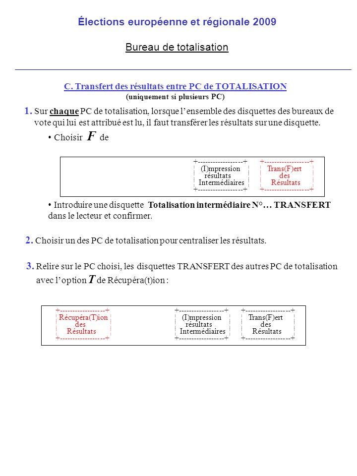 C. Transfert des résultats entre PC de TOTALISATION (uniquement si plusieurs PC) 2.