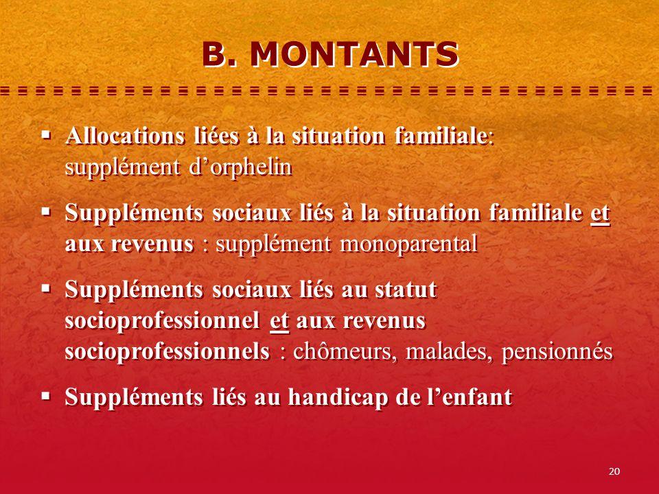 20 B. MONTANTS Allocations liées à la situation familiale: supplément dorphelin Suppléments sociaux liés à la situation familiale et aux revenus : sup