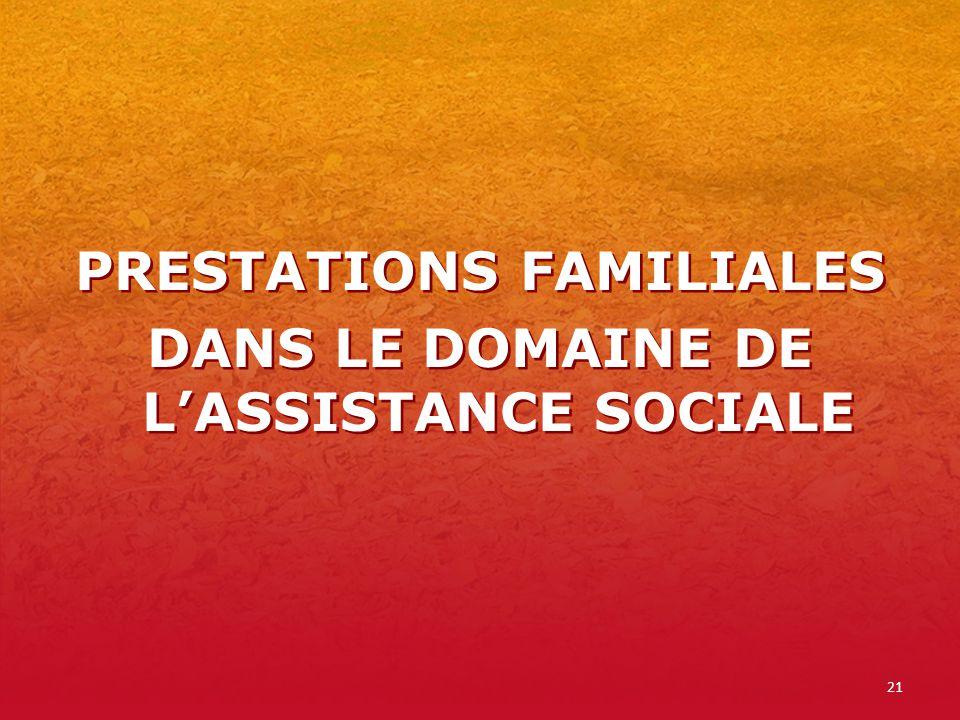 21 PRESTATIONS FAMILIALES DANS LE DOMAINE DE LASSISTANCE SOCIALE PRESTATIONS FAMILIALES DANS LE DOMAINE DE LASSISTANCE SOCIALE