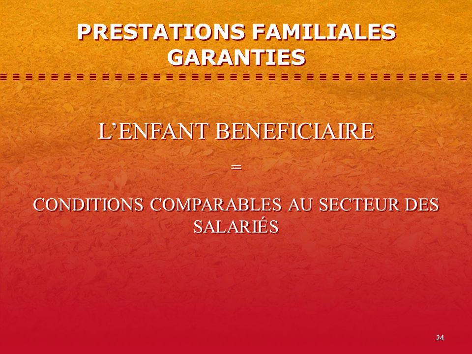 24 PRESTATIONS FAMILIALES GARANTIES LENFANT BENEFICIAIRE = CONDITIONS COMPARABLES AU SECTEUR DES SALARIÉS LENFANT BENEFICIAIRE = CONDITIONS COMPARABLES AU SECTEUR DES SALARIÉS
