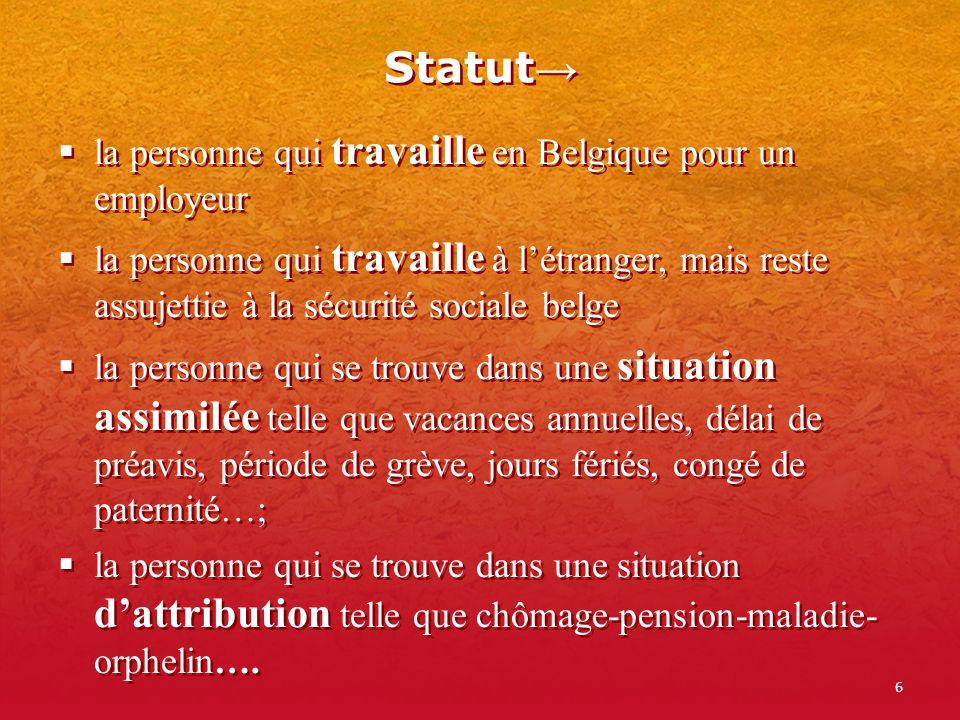 6 Statut la personne qui travaille en Belgique pour un employeur la personne qui travaille à létranger, mais reste assujettie à la sécurité sociale be