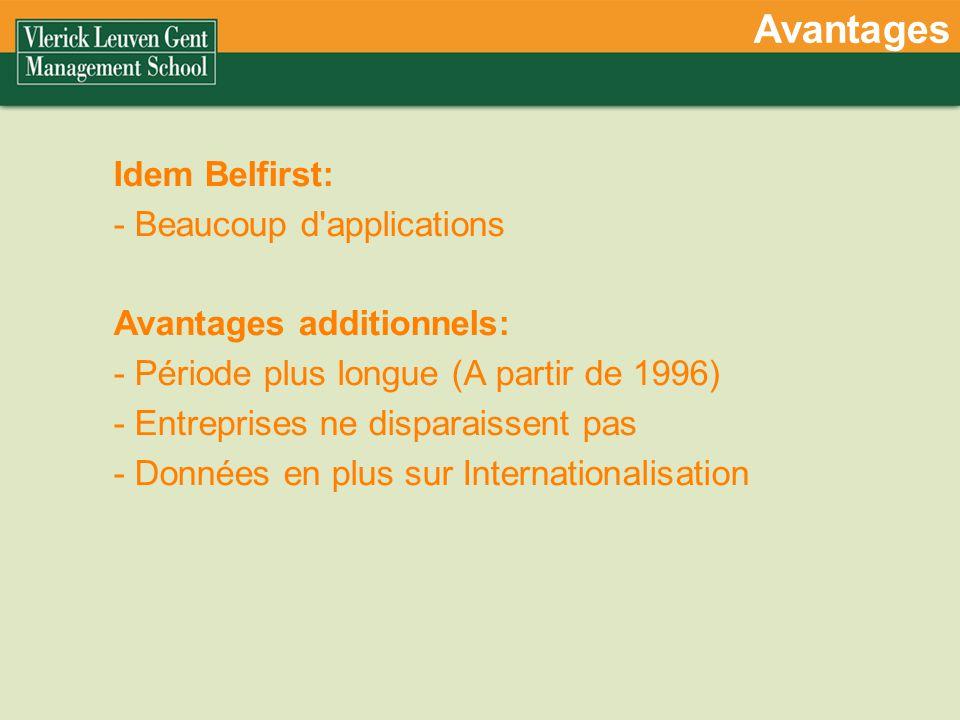 Avantages Idem Belfirst: - Beaucoup d applications Avantages additionnels: - Période plus longue (A partir de 1996) - Entreprises ne disparaissent pas - Données en plus sur Internationalisation