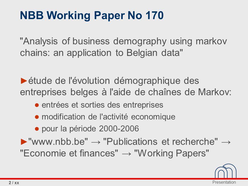 Presentation 2 / xx NBB Working Paper No 170