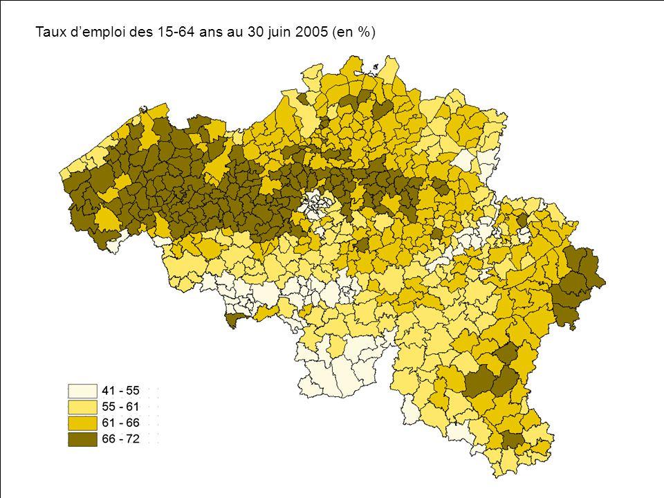 Taux demploi des 15-64 ans au 30 juin 2005 (en %)