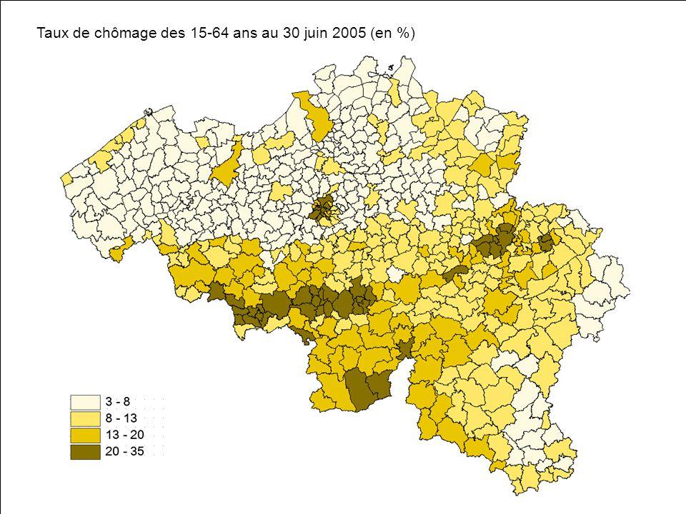 Taux de chômage des 15-64 ans au 30 juin 2005 (en %)
