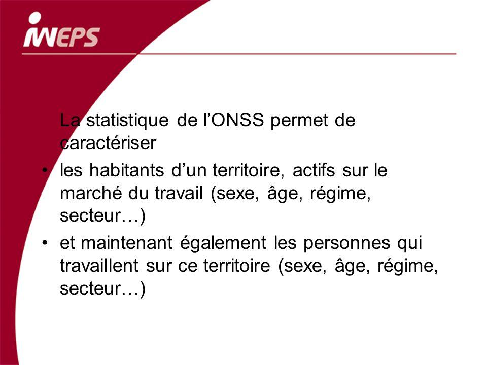 La statistique de lONSS permet de caractériser les habitants dun territoire, actifs sur le marché du travail (sexe, âge, régime, secteur…) et maintena