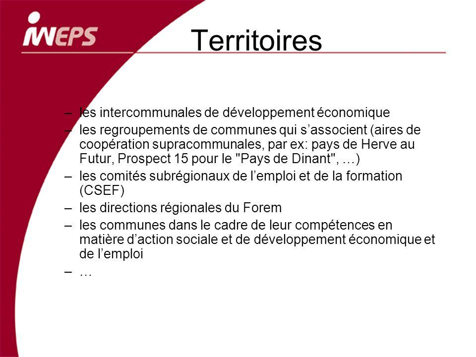 Territoires –les intercommunales de développement économique –les regroupements de communes qui sassocient (aires de coopération supracommunales, par