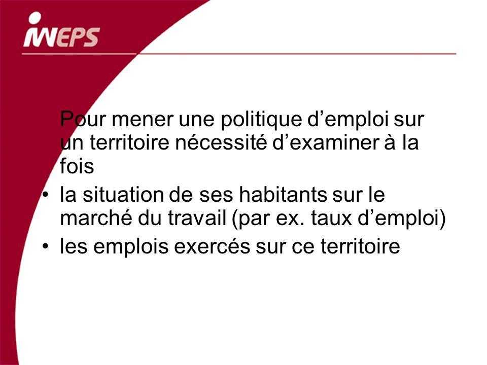 Pour mener une politique demploi sur un territoire nécessité dexaminer à la fois la situation de ses habitants sur le marché du travail (par ex. taux