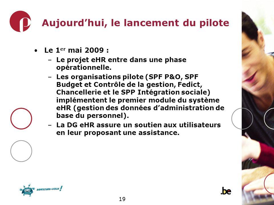 19 Le 1 er mai 2009 : –Le projet eHR entre dans une phase opérationnelle. –Les organisations pilote (SPF P&O, SPF Budget et Contrôle de la gestion, Fe