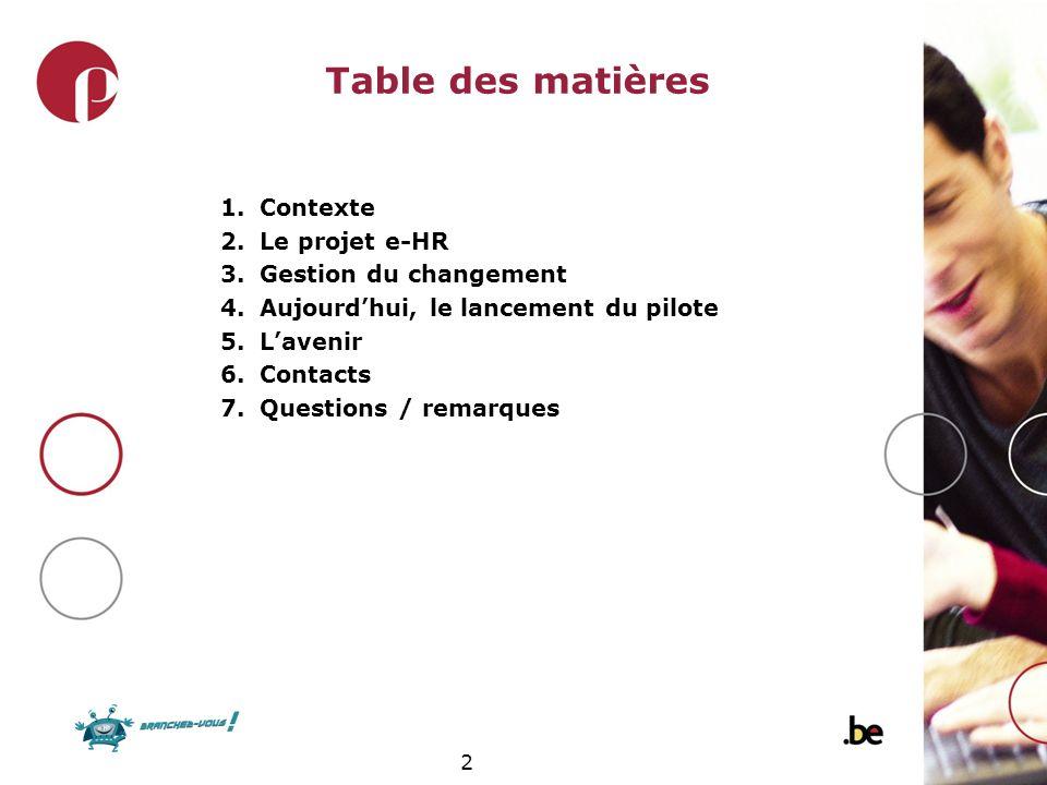 2 Table des matières 1.Contexte 2.Le projet e-HR 3.Gestion du changement 4.Aujourdhui, le lancement du pilote 5.Lavenir 6.Contacts 7.Questions / remar