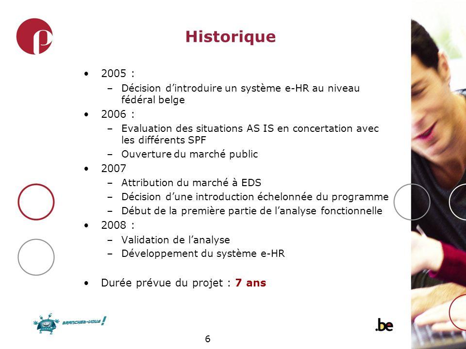 6 Historique 2005 : –Décision dintroduire un système e-HR au niveau fédéral belge 2006 : –Evaluation des situations AS IS en concertation avec les dif