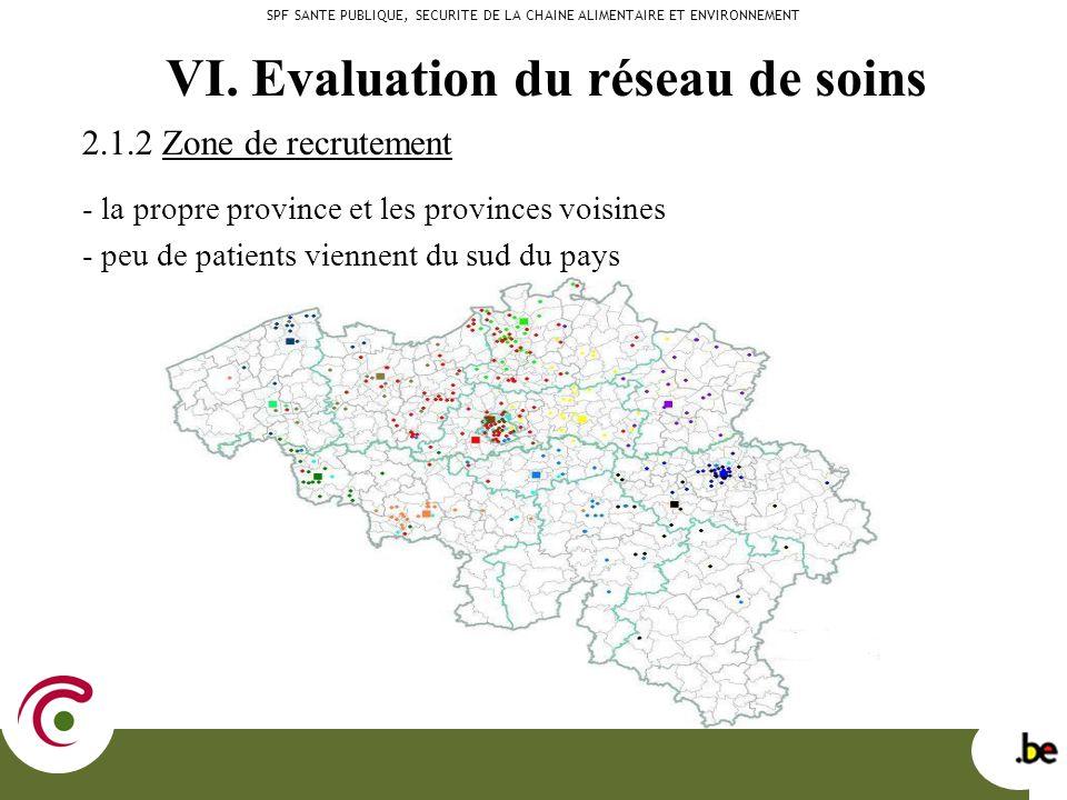 2.1.2 Zone de recrutement - la propre province et les provinces voisines - peu de patients viennent du sud du pays SPF SANTE PUBLIQUE, SECURITE DE LA CHAINE ALIMENTAIRE ET ENVIRONNEMENT VI.