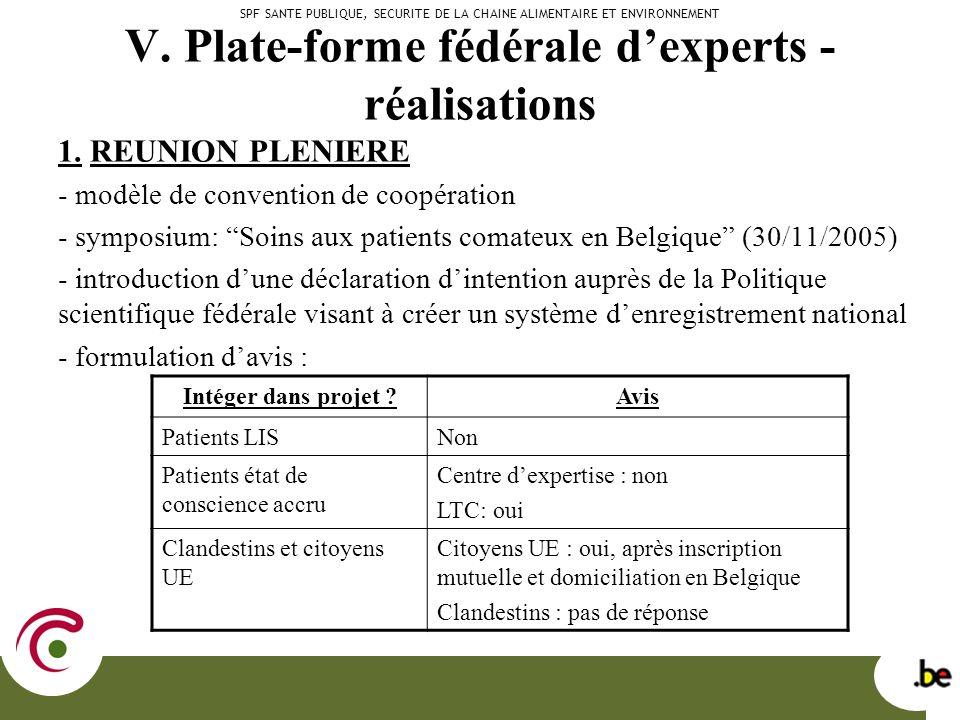 V. Plate-forme fédérale dexperts - réalisations 1.