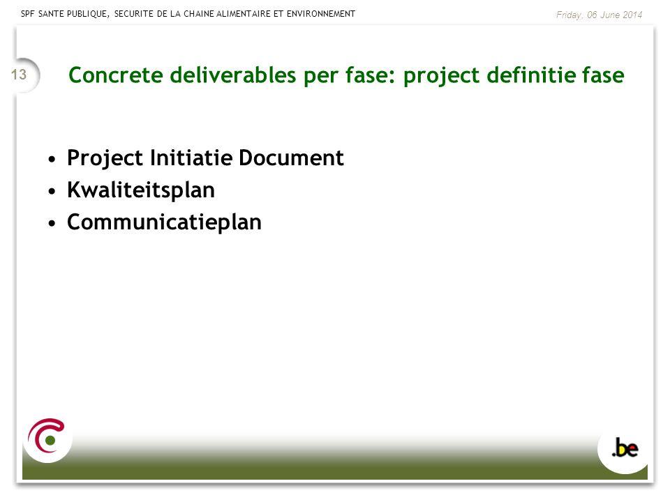 SPF SANTE PUBLIQUE, SECURITE DE LA CHAINE ALIMENTAIRE ET ENVIRONNEMENT Friday, 06 June 2014 13 Project Initiatie Document Kwaliteitsplan Communicatiep