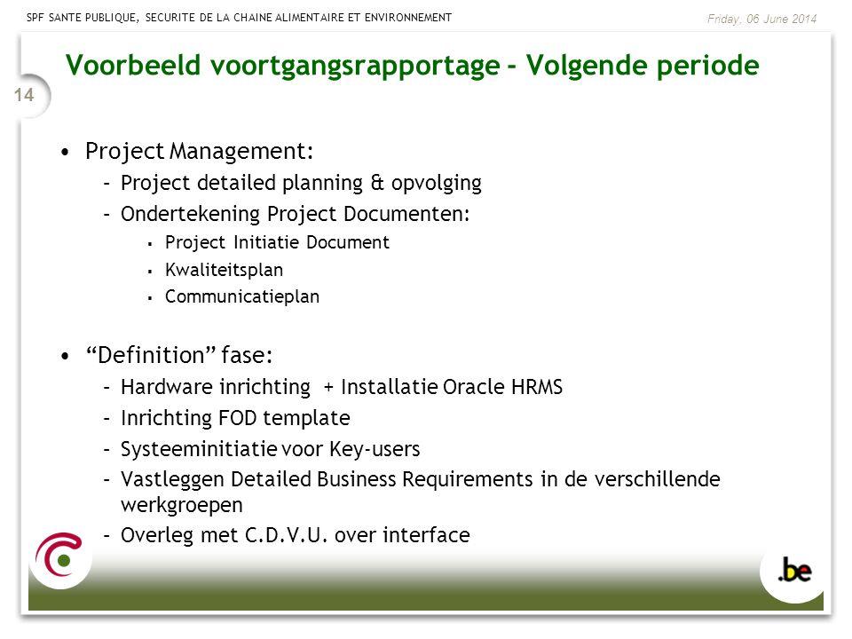 SPF SANTE PUBLIQUE, SECURITE DE LA CHAINE ALIMENTAIRE ET ENVIRONNEMENT Friday, 06 June 2014 14 Project Management: –Project detailed planning & opvolg
